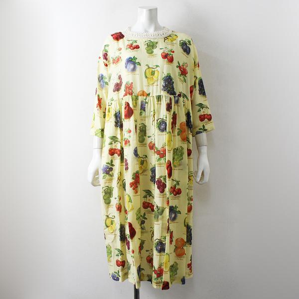 未使用品 2020SS Jane Marple ジェーンマープル Fruits dictionary tablier dress フルーツプリントダブリエドレスM【2400012448261】