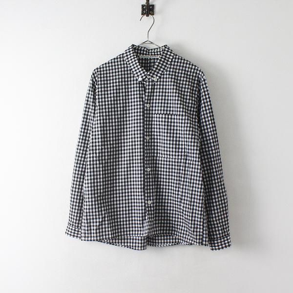 Charpentier de Vaisseau シャルパンティエドゥヴェッソ ギンガムチェック コットン ボタンダウンシャツ 2/白黒 男女兼用【2400012451148】