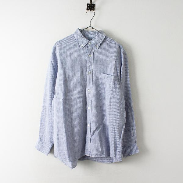 STANDART AT HAND スタンダートアットハンド ストライプ リネン ボタンダウンシャツ 8/ブルー 男女兼用【2400012451193】