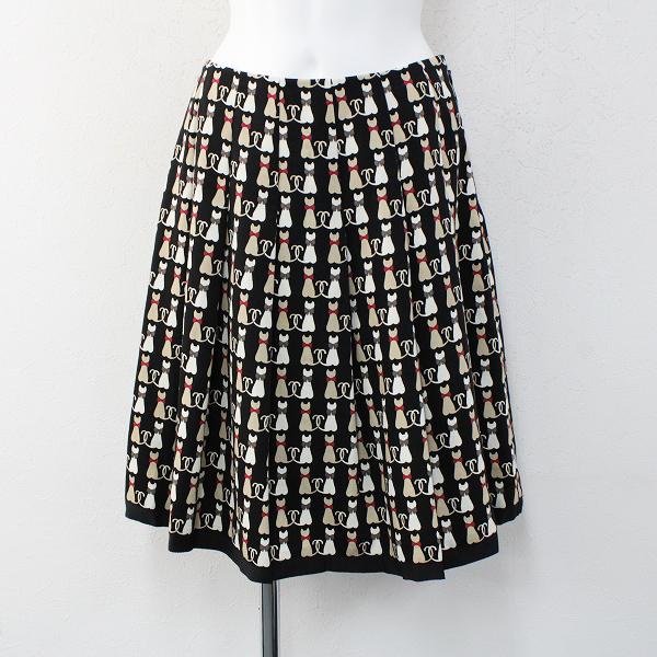 M'S GRACY エムズグレイシー リボンネコプリント フレアスカート 38/ブラック キャット ねこ 猫【2400012452046】
