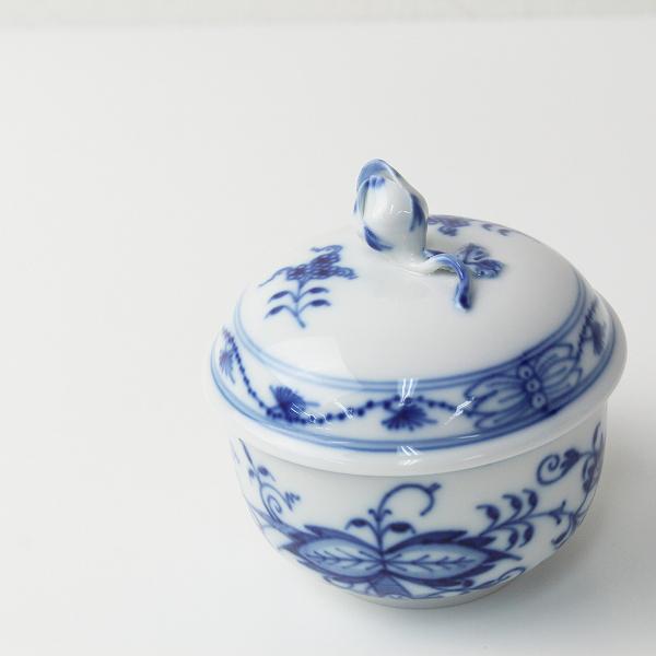 Meissen マイセン ブルーオニオン 蓋付 陶器 シュガーポット/ホワイト ブルー【2400012452145】