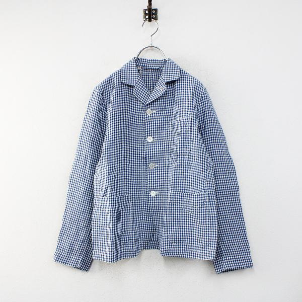 未使用 定価4.7万 2021SS 45R フォーティファイブアール インドリネン平のシャツジャケット 2/ネイビー ギンガムチェック【2400012453302】