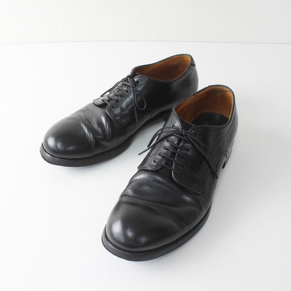 メンズ chausser ショセ クラシックライン プレーントゥ レザーレースアップシューズ 26cm/ブラック クロ 革靴【2400012453340】