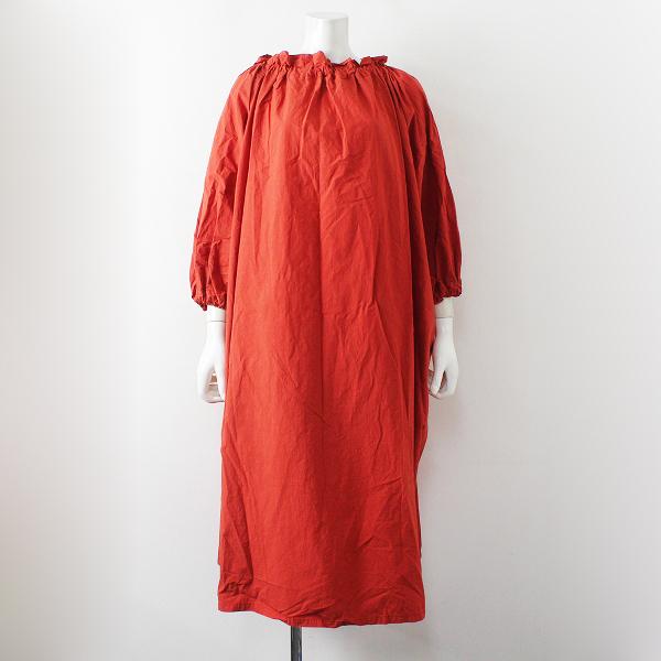 2021SS 雑誌掲載品 定価2.7万 nest Robe ネストローブ コットンラミーボリュームワンピースF/レッド バルーン ドレス【2400012453470】-.