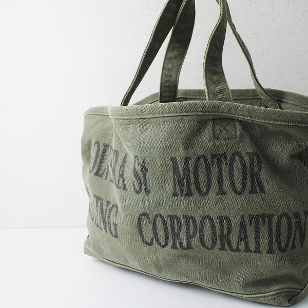定価2.2万 2021SS L'Appartement アパルトモン Graphic Tote Bag/カーキ キャンバス トートバッグ ヴィンテージ加工【2400012456709】-.
