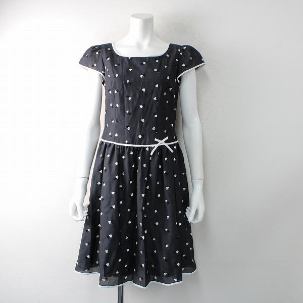美品 M'S GRACY エムズグレイシー ハート刺繍 ショートスリーブワンピース 38/ ブラック ホワイト ドレス【2400012456730】