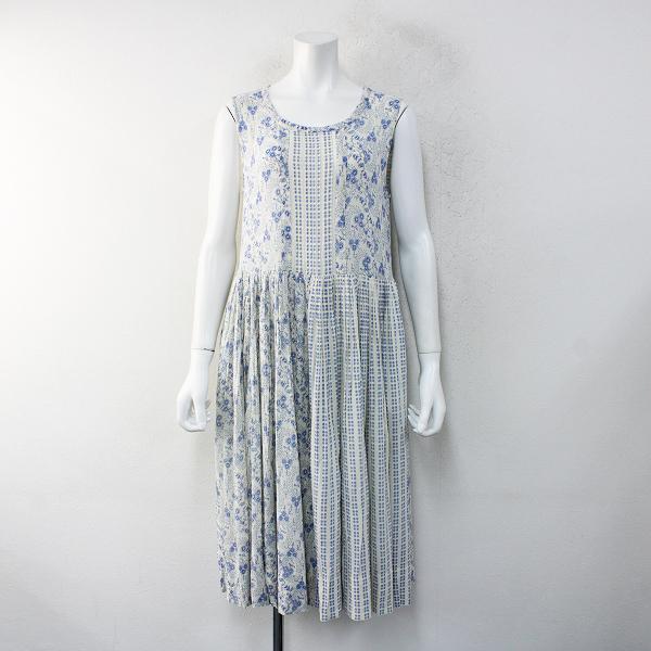 Jane Marple Dans Le Salon ジェーンマープル フラワーストライプ ギャザーノースリーブワンピースM/ホワイト ドレス【2400012457645】