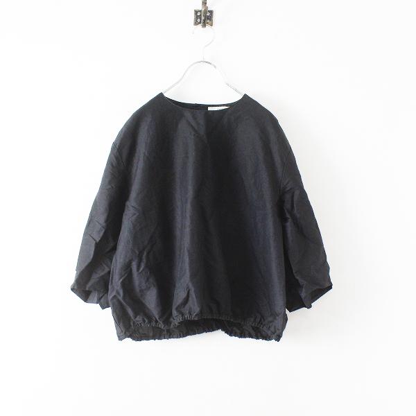2019 Lisette リゼッタ ラミーコットン 裾ギャザー バルーン ブラウス 38/ブラック【2400012459052】