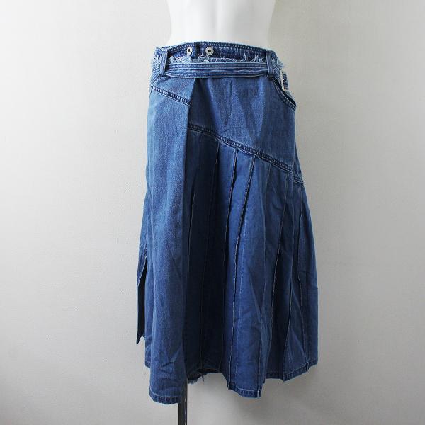 未使用 大きいサイズ AS KNOW AS olaca アズノゥアズ オオラカ バーチカルデニムスカート 15/ブルー インディゴ【2400012459502】