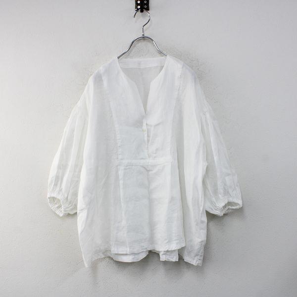 美品 2021SS nest Robe ネストローブ 01212-1169 リネンパフスリーブカラーレスプルオーバーブラウスF/オフホワイト【2400012460041】