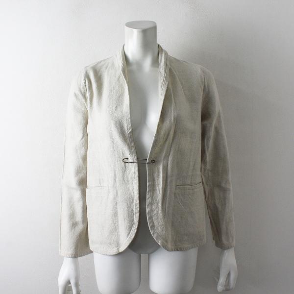 美品 2018SS evam eva エヴァムエヴァ linen cotton jacket リネンコットン ピン付きフロントオープンジャケット1【2400012460348】