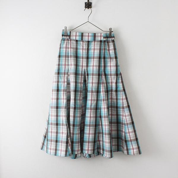未使用品 studio CLIP スタジオクリップ NEXTWEEKEND コラボ 物語のスカート PM/チェック セピアミント ロング丈【2400012460522】