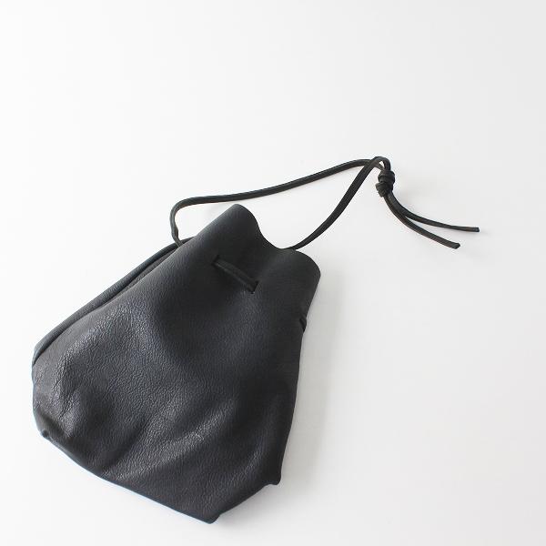 一粒舎 hitotsubusha ヒトツブシャ 鹿革巾着 シンプルキンチャクバッグ/ブラック クロ 黒 本革【2400012460584】