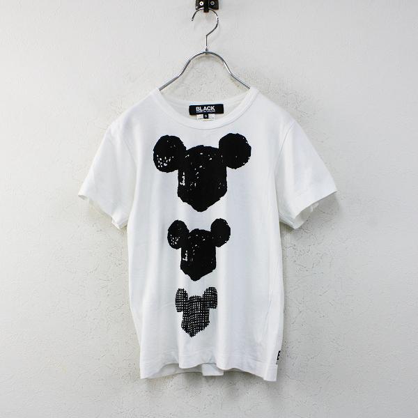 BLACK COMME des GARCONS ブラックコムデギャルソン AD2010 ミッキー Tシャツ S/ホワイト カットソー【2400012460751】