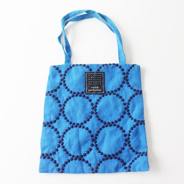 mina perhonen ミナペルホネン tambourine 刺繍 ミニバッグ/ブルー【2400012462090】