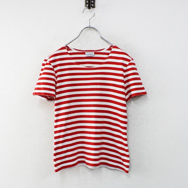 marimekko マリメッコ タサライタ コットンボーダー半袖Tシャツ XS/レッドホワイト TEE【2400012463585】