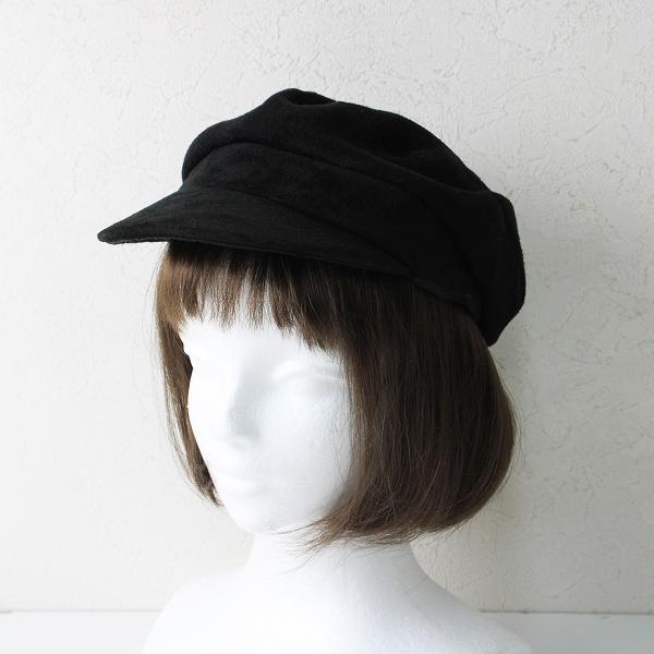 KIJIMA TAKAYUKI キジマ タカユキ ゴートレザー スウェードキャスケット/ブラック クロ 帽子【2400012463936】