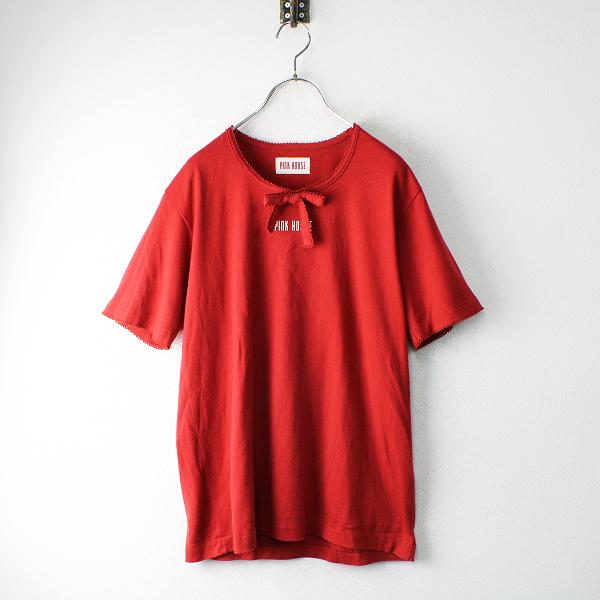 PINK HOUSE ピンクハウス ピコリボン ロゴ コットンTシャツ M/レッド カットソー【2400012465008】