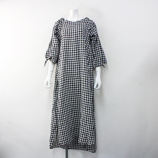 ハグオーワー Cloth & Cross クロス&クロス ギンガムチェックワンピース/ブラック ホワイト【2400012465923】