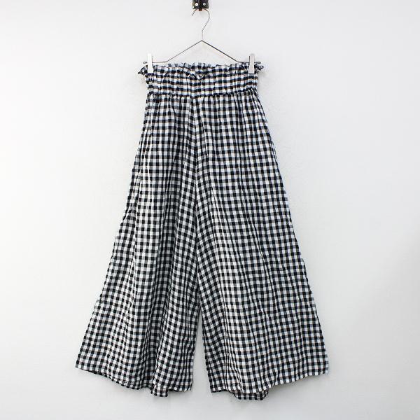 ハグオーワー Cloth & Cross クロス&クロス リネン ギンガムチェックワイドパンツ/ブラック ホワイト【2400012465930】