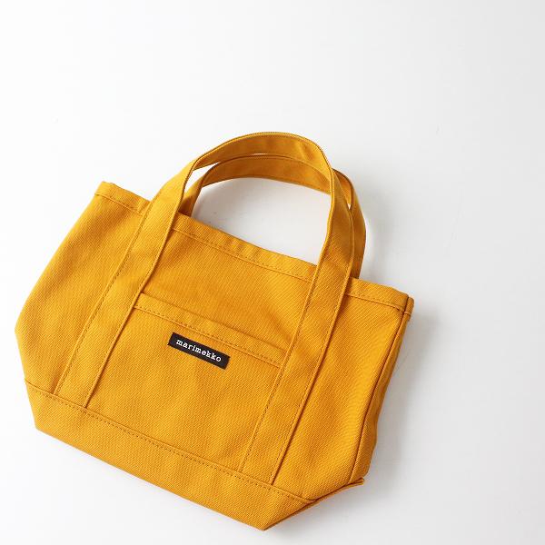 美品 marimekko マリメッコ MINI PERUSKASSI ミニ キャンバストートバッグ/オレンジ系【2400012466111】