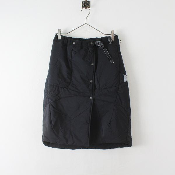 美品 定価3.3万 2018AW and wander アンドワンダー top fleece skirt フリーススカート 00/ブラック【2400012466128】