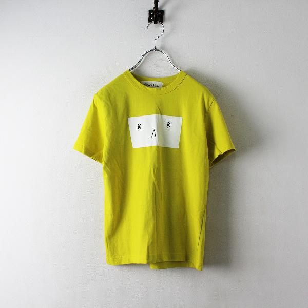 美品 mina perhonen ミナペルホネン mina anim プリント Tシャツ XS/イエロー トップス【2400012468252】