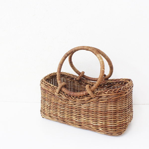 あけび かごバッグ バスケット/ブラウン 天然素材 伝統工芸品 手提げ ハンドバッグ【2400012468450】
