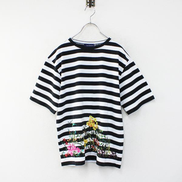 新品 未使用 2021SS Lois CRAYON ロイスクレヨン フラワー刺繍 コットンボーダーTシャツ M/ブラック ホワイト【2400012468573】