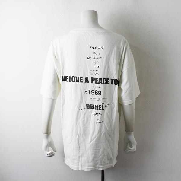 美品 定価1.5万 2021SS Deuxieme Classe ドゥーズィエムクラス LOVE A PEACE バックプリントTシャツ F/オフホワイト【2400012470453】-.