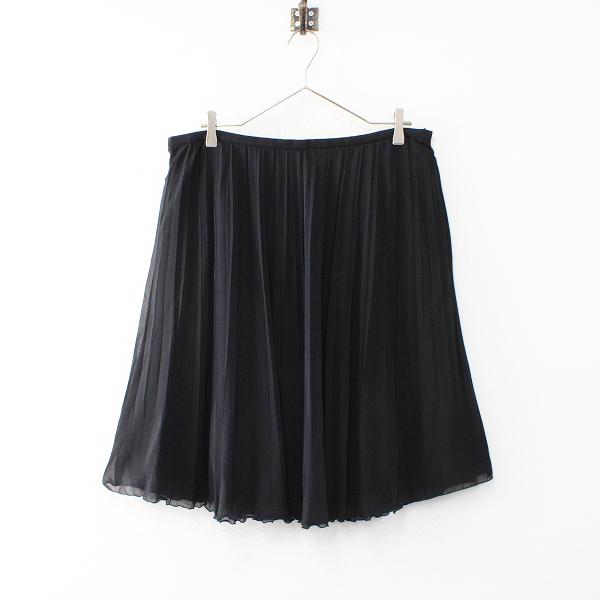 美品 大きいサイズ INIDIVI インディヴィ シフォンプリーツスカート 48/ブラック ボトムス フレア【2400012471429】