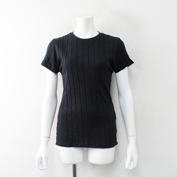YOUNG&OLSEN ヤングアンドオルセン リブ 半袖Tシャツ 2/ブラック トップス カットソー 半袖【2400012471757】