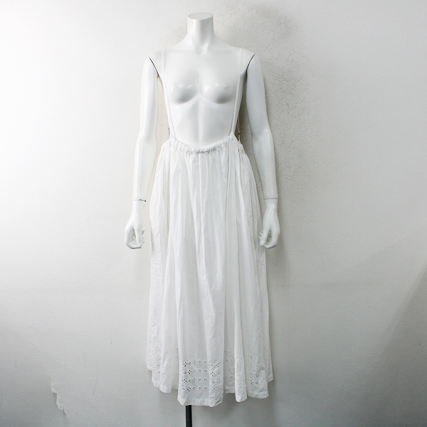 2019SS nest Robe ネストローブ 01192-2028 コットン エンブロイダリースカート F/ホワイト 吊りスカート フレア 刺繍【2400012471764】