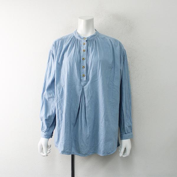 studio CLIP スタジオクリップ コットン リネン バンドカラーチュニックシャツ F/サックスブルー【2400012474734】