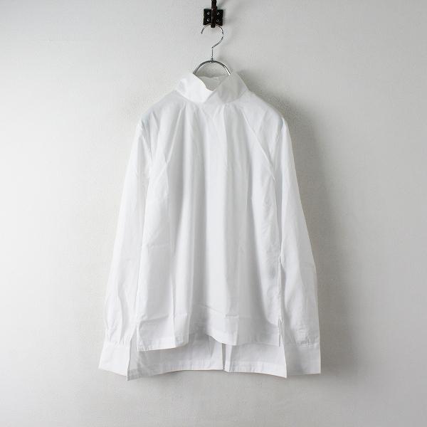 SINME シンメ コットン バックボタン ハイネック ブラウス M/ホワイト トップス シャツ カットソー【2400012475335】