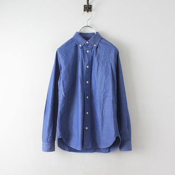 SINME シンメ コットンダンガリークロス ボタンダウンシャツ S/ インディゴブルー ブラウス トップス【2400012475342】