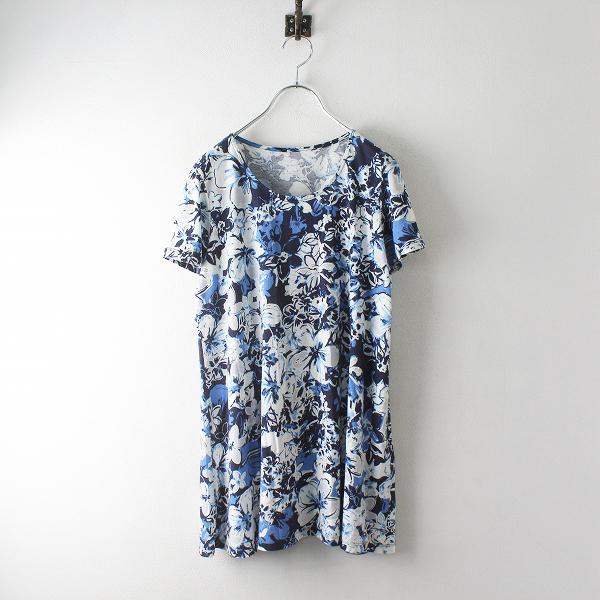 近年アイテム PINORE ピノーレ フラワープリント 半袖Tシャツ 40/ブルーホワイト コットンリヨセル 花柄【2400012476493】
