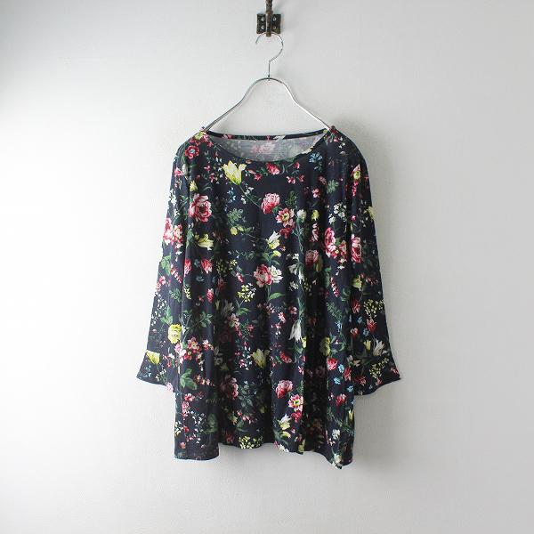 近年アイテム PINORE ピノーレ モダールレーヨン フラワープリント 長袖Tシャツ 40/ネイビー カットソー 花柄【2400012476509】