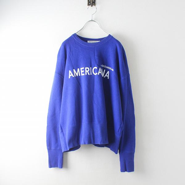 Americana アメリカーナ ロゴプリント ワイドシルエット 裏毛 スウェットプルオーバー /ブルー トップス トレーナー【2400012477209】