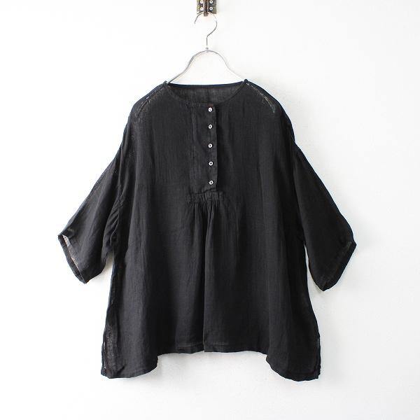 2020SS nest Robe ネストローブ リネンガーゼブラウス F/ブラック シャツ【2400012477384】