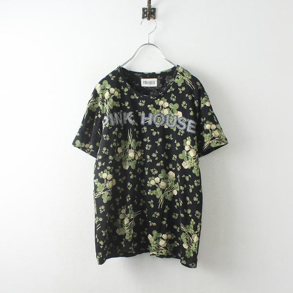 PINK HOUSE ピンクハウス ロゴアップリケ 花柄 Tシャツ F/ブラック カットソー【2400012477605】