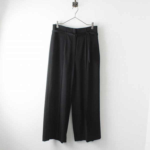 大きいサイズ オンワード樫山 iCB アイシービー Fied ロングワイド パンツ 44/ブラック ベルト付【2400012478114】
