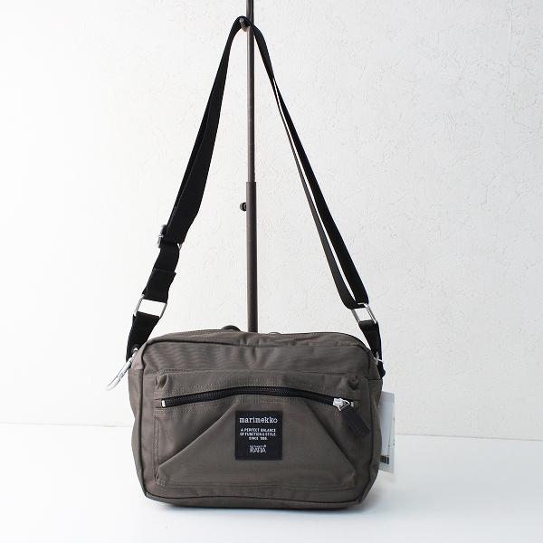 未使用品 marimekko マリメッコ MY THINGS ナイロンショルダーバッグ/チャコールモカ 鞄【2400012479814】