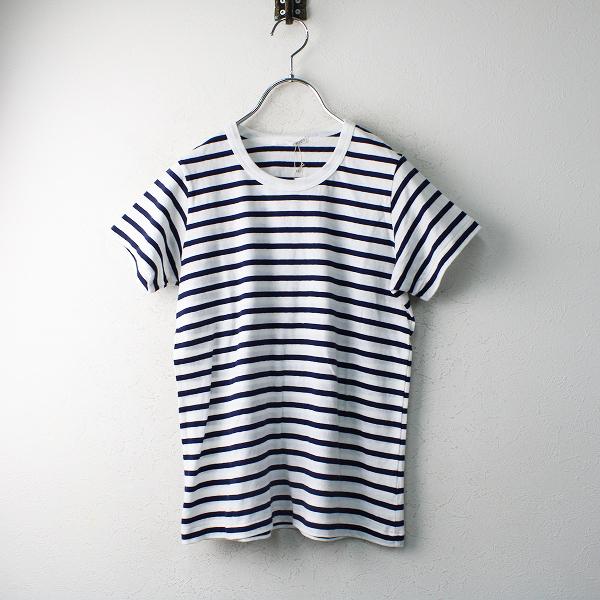 新品 未使用品 n100 エヌワンハンドレッド コットンボーダー半袖 Tシャツ 34/ホワイト ネイビー トップス【2400012480117】