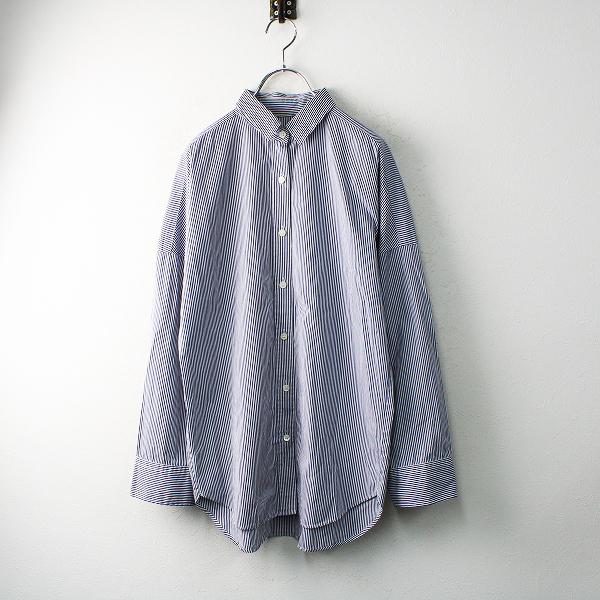 Deuxieme Classe ドゥーズィエムクラス ストライプ コットンシャツ F/ホワイト ネイビー【2400012480889】