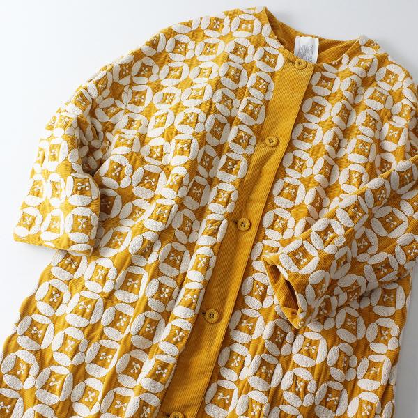 mina perhonen ミナペルホネン LAUNDRY ランドリー dear 刺繍 ノーカラーコート 38/オレンジ コーデュロイ【2400012481305】