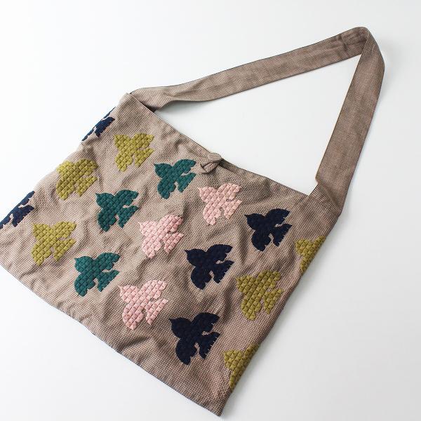 美品 2019AW mina perhonen ミナペルホネン sash bag robin/ブラウン 刺繍 サッシュバッグ ショルダーバッグ【2400012481411】