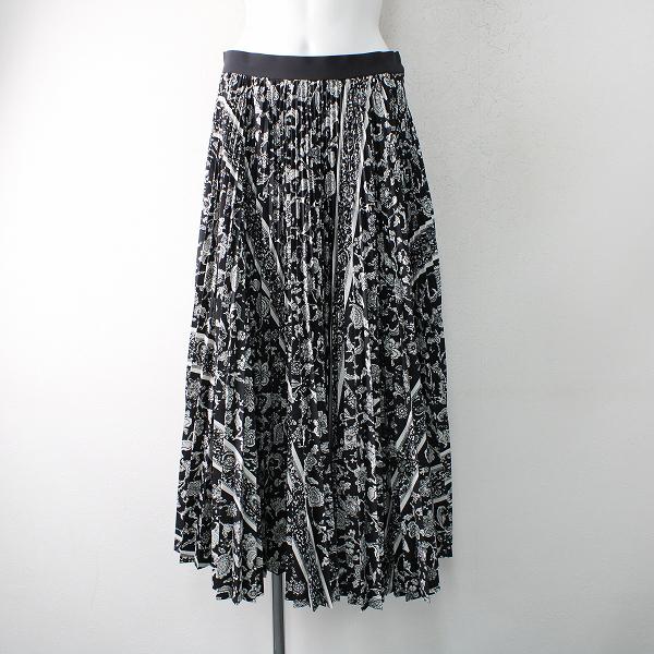 定価3.4万 Lois CRAYON ロイスクレヨン モノトーンオリエンタル スカート M/ブラック ボトムス【2400012482340】