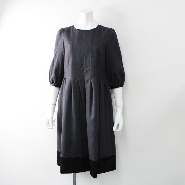 Lois CRAYON ロイスクレヨン バックボタン ウールノーカラーワンピース M/チャコールグレー ドレス タック入り【2400012483118】