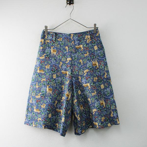 希少 人気アイテム Lois CRAYON ロイスクレヨン アニマルゴブラン織りキュロットパンツ M/ブルー 動物柄【2400012483132】
